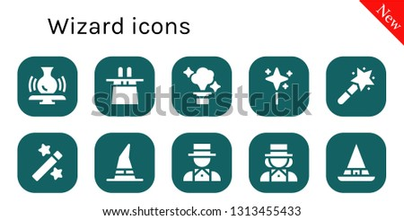 wizard icon set. 10 filled wizard icons.  Simple modern icons about  - Pottery, Magic hat, Magic, Wand, Magic wand, Witch, Magician