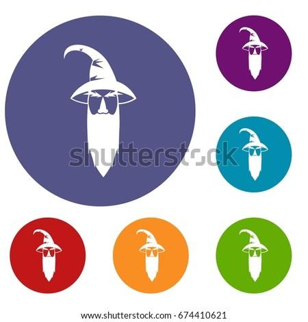 wizard icons set in flat circle
