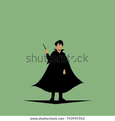 wizard in black robe with magic