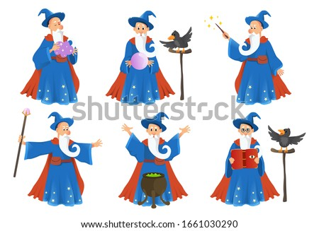 Wizard in robe spelling vector cartoon characters. Vector illustration  Сток-фото ©