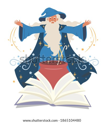Wizard, mage cooking potion in cauldron and reading spell book, flat vector illustration. Warlock, sorcerer, old beard man in blue wizards robe, hat. Mystery, fantasy, witchcraft, magic Merlin spells. Foto stock ©