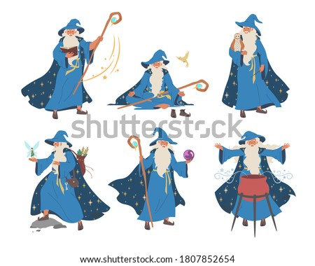 Wizard, magician cartoon character set, flat vector illustration. Old beard man in blue wizards robe hat. Warlock, sorcerer with magical wand, cauldron. Mystery fantasy witchcraft, magic Merlin spells Foto stock ©