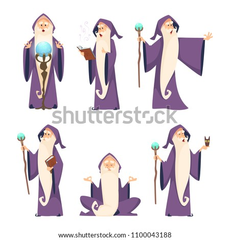 Wizard male. Cartoon mascot in action poses. Magician and sorcerer, warlock man in robe, vector illustration Сток-фото ©