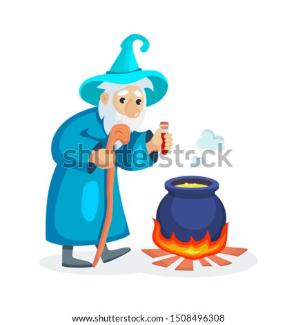 Wizard male character, mage, a sorcerer in a mantle and hat. Warlock adds magic potion in a cauldron. Concept of magic and witchcraft. Wizard male cartoon vector illustration isolated. Сток-фото ©