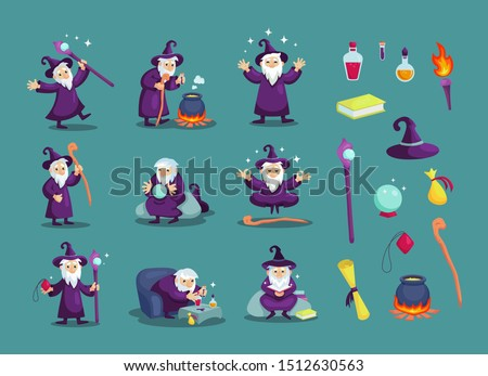 Wizard male character, mage, a sorcerer in a mantle and hat. Warlock in a bathrobe, in various situations. Magic medieval accessories collection. Mystery vector illustration isolated. Сток-фото ©