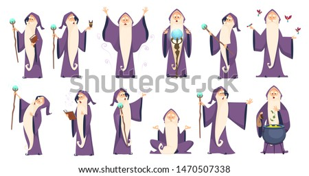 Wizard. Mysterious male magician in robe spelling oldster merlin vector cartoon characters. Sorcerer character in costume, spell magician, witchcraft and magical illustration Сток-фото ©