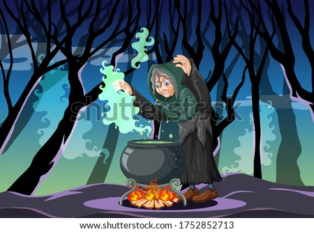 wizard or witch with magic pot
