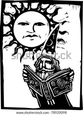 Wizard reading a book beneath a sun with a face.