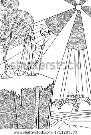 wizard traveler and landscape