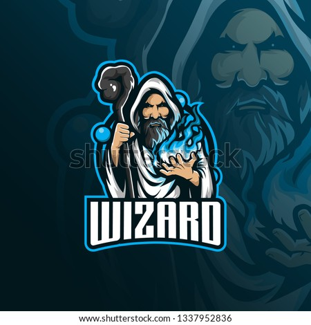 wizard vector mascot logo design with modern illustration concept style for badge, emblem and tshirt printing. angry wizard illustration with stick and fire in hand. Сток-фото ©