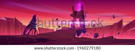 Wizard walk to magic portal in stone frame on mountain landscape at sunrise. Vector cartoon fantasy illustration with knight in medieval costume with spear and ancient arch with pink glow over abyss