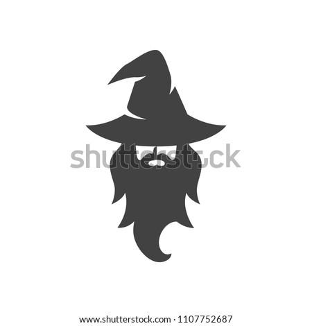 wizard warlock logo black and white vector Сток-фото ©
