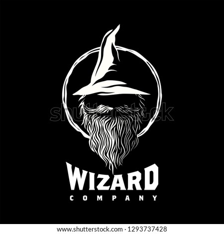 wizard warlock logo design inspiration, Design element for logo, poster, card, banner, emblem, t shirt. Vector illustration Сток-фото ©