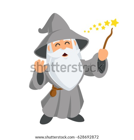 Wizard wearing a hat and a long beard, vector illustration Сток-фото ©