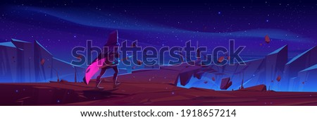 Wizard with magic spear walk to hanging rope bridge over abyss in mountains. Vector cartoon fantasy illustration with knight, traveler in medieval costume, magician man on cliff at night