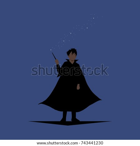 wizard with wand and dark robe