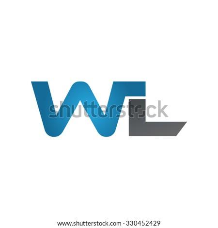 WL company linked letter logo blue