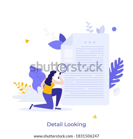 Woan holding magnifying glass and examining document. Concept of business analysis, audit, professional check of documentation, investigation, inspection. Modern flat colorful vector illustration.