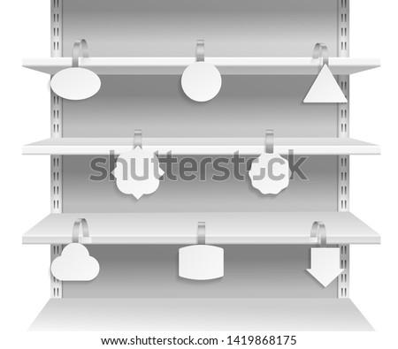 Wobbler shelves. Promotion advertising informing discount sale tags on supermarket shelf. Paper wobblers empty labels vector mockup set