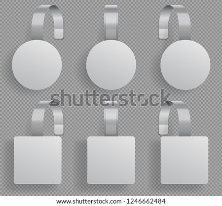 Wobbler template. Supermarket bended white blank wobblers. 3d sale discount plastic tags vector isolated mockup
