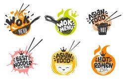 Wok asian food logo, Wok pan, plate, box, sticks, lettering, pepper, vegetables, Cook wok dish noodle ramen fire background logotype design. Hand drawn vector illustration.