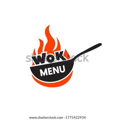 Wok frying pan icon. Vector illustration. Wok asian food logo for thai or chinese restaurant. Zdjęcia stock ©