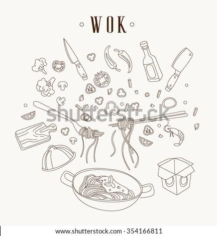 wok illustration asian frying
