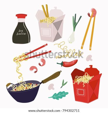 wok noodles  take away boxes