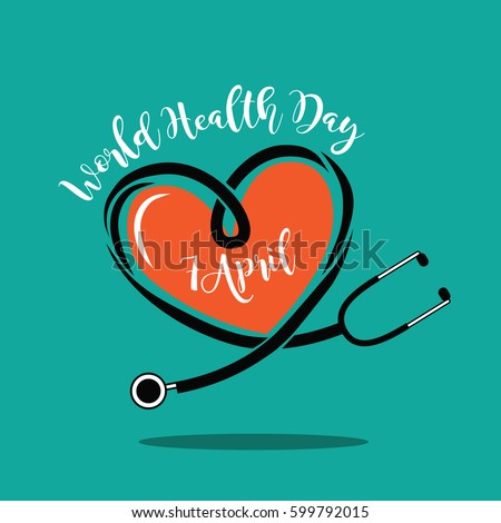 Wold Health Day heart and stethoscope design. In celebration of World Health Day. EPS 10 vector.