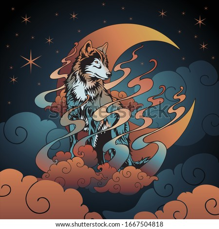 wolf and crescent moon with