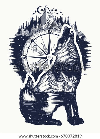 Wolf and mountains double exposure tattoo art. Symbol tourism, travel, adventure, outdoor t-shirt design