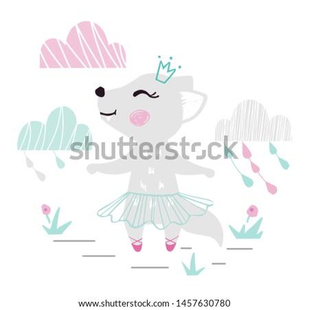 wolf baby girl cute print