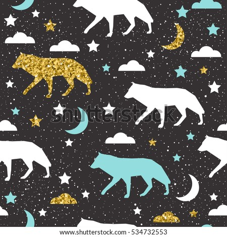 wolf background gold  blue and