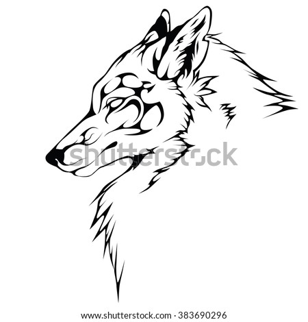 wolf black color ornate