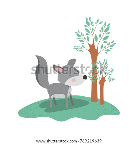 wolf cartoon in forest next to the trees in colorful silhouette