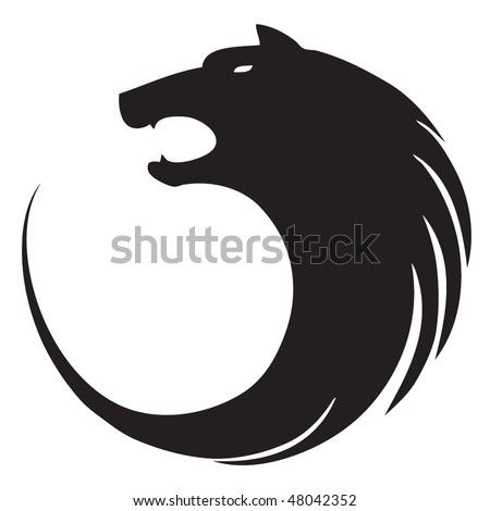 Wolf circle sign - stock vector