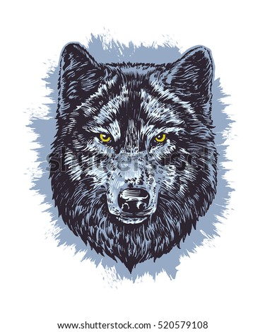 wolf dark vector hand draw