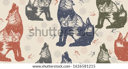 wolf double exposure seamless