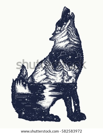 Wolf double exposure tattoo art. Symbol tourism, travel, adventure, outdoor. Wolf howls t-shirt design