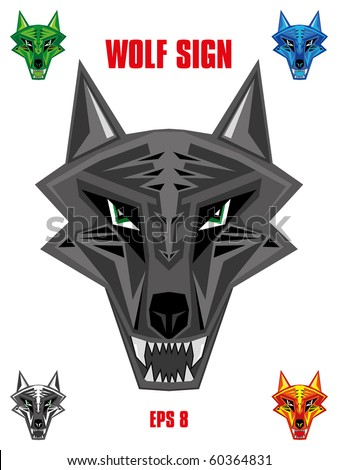 Wolf emblem in sharp futuristic red indian style head. Available in five colors