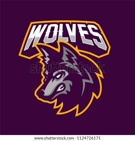 wolf esport gaming mascot logo template