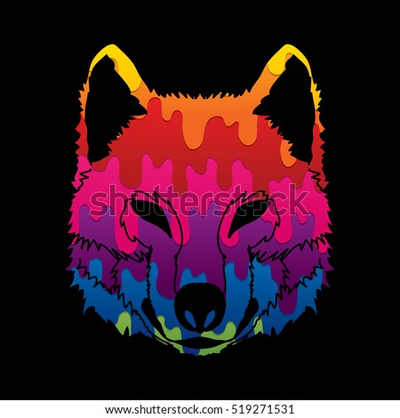 wolf face front view designed