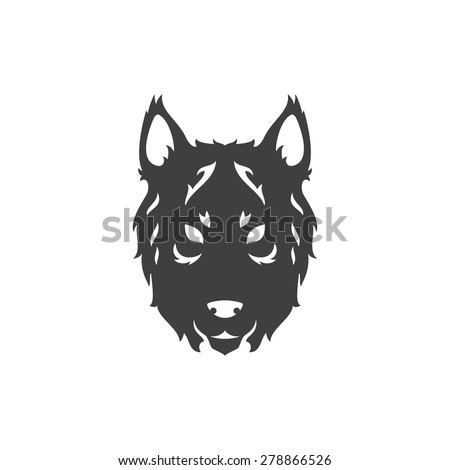 Wolf Face Logo Emblem Template Mascot Symbol For Business Or Shirt