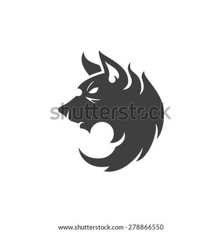 wolf face logo emblem template