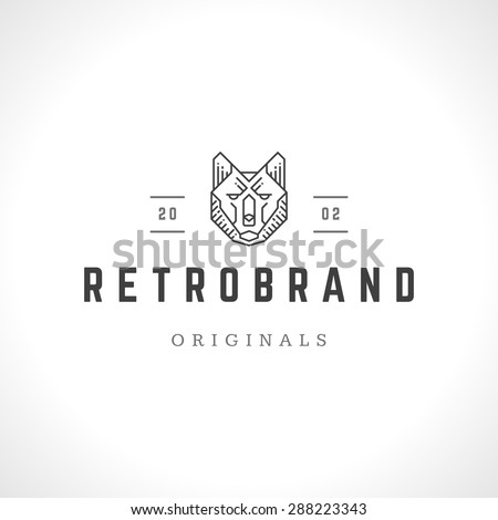royalty free vintage fox face line art logotype 291537314 stock