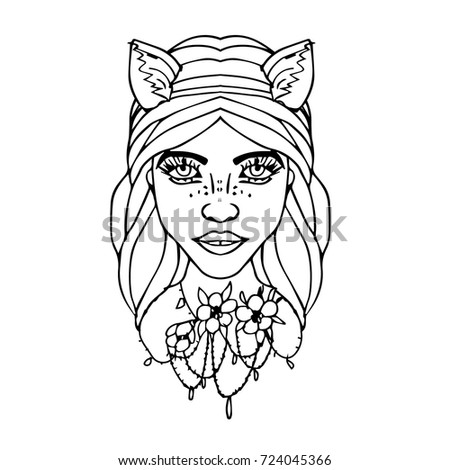 wolf girl vector illustration template for card poster banner print
