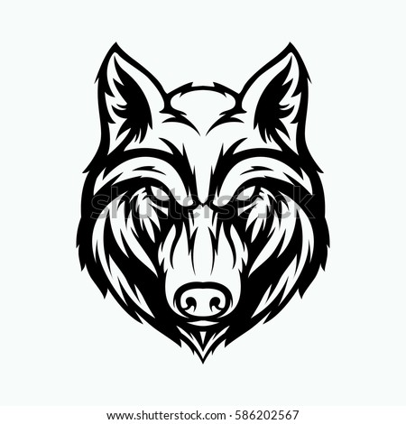 wolf head angry face logo with