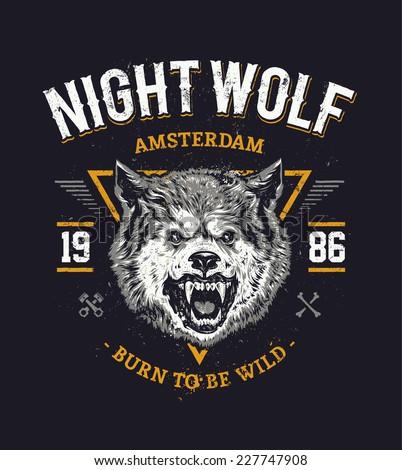 wolf head grunge vector art