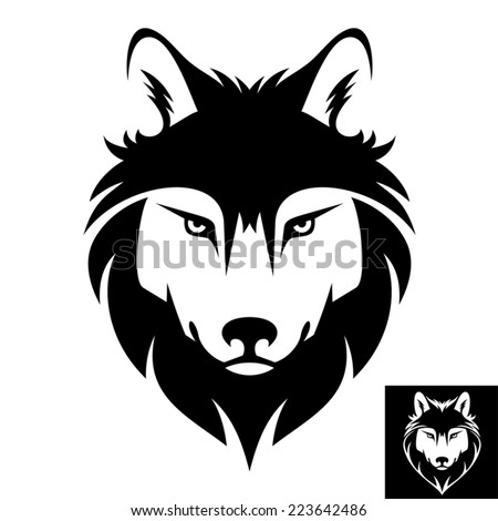 Wolf Head Icon in black and white This is vector illustration ideal for a mascot and T-shirt graphic Inversion version included