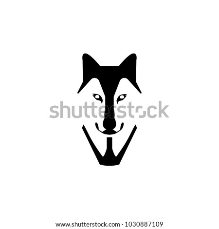 wolf head vector illustration style flat side front ez canvas